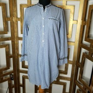 J Crew Women Embroidered Tunic Top Shirt blue L